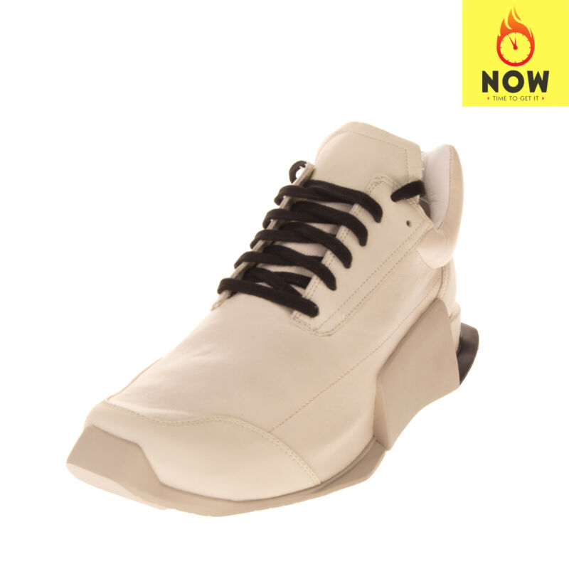 RRP €710 RICK OWENS X ADIDAS Leather Sneakers Size 42 2/3 UK 8.5 US 9 Serrated