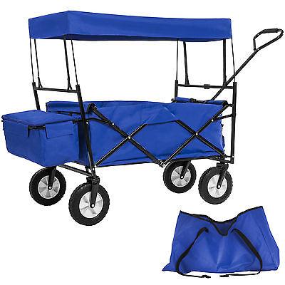 Chariot pliable avec toit amovible charrette de transport à tirer main bleu
