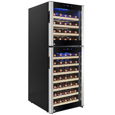Dual Zone 73 Bottle Freestanding Wine Cooler Refrigerator Built-in Compressor