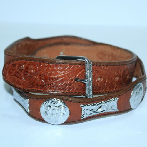 GORGEOUS Mexico Cintos Imperial Detailed Leather Conch Belt Size 40