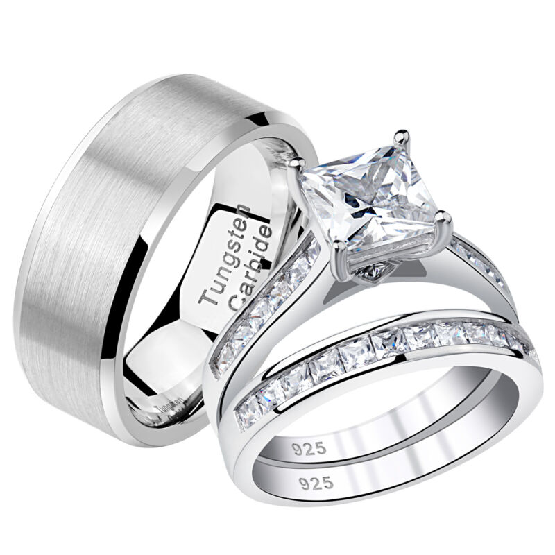 Wedding Rings Set For Him And Her Women Men Tungsten Bands Cz Sterling Silver