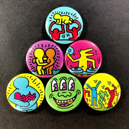 "Keith Haring 1"" Refrigerator Magnet (6 Piece Set) Artist Art Graffiti"