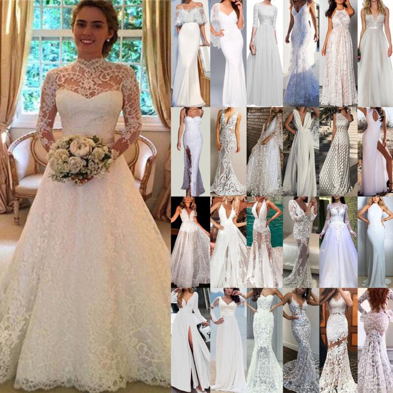 Damen Hochzeit Abendkleid Brautjungfern Cocktail Partykleid Ballkleid Weiß Kleid