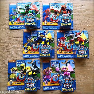Nickelodeon PAW PATROL Super Pups CHASE MARSHALL SKYE RUBBLE ROCKY ZUMA Bundle