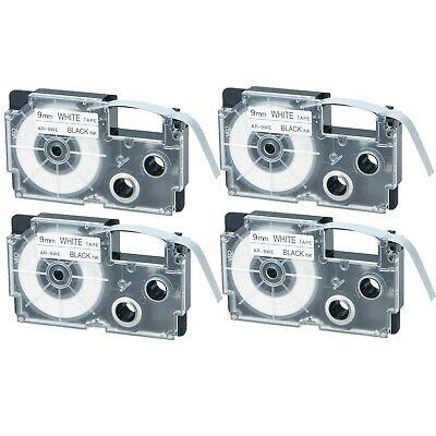 4pk Compatible Casio Xr-9we Black On White Label Tape For Ez Kl-750ba Printer