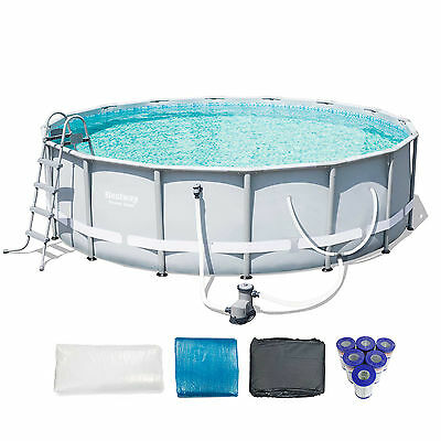 "Bestway 16' x 48"" Power Steel Frame Above Ground Pool Set + 6 Coleman Cartridges"