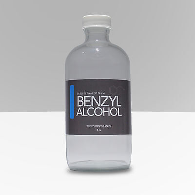 8 Oz. Benzyl Alcohol 99.998 Pure Usp Grade In Sterile Glass Bottle Ships Fast