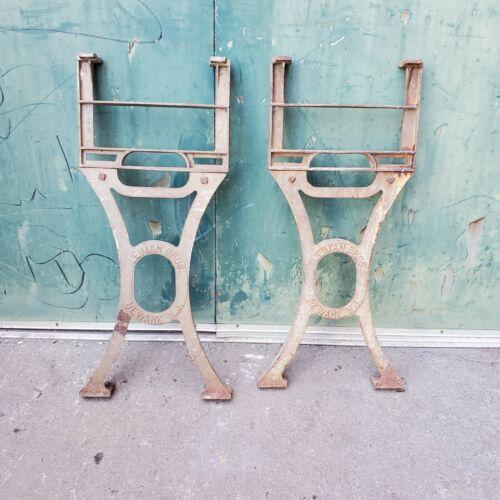 "Antique Heavy Cast Iron LEGS 32"" tall  LEIMAN BROS Steampunk Industrial Table"