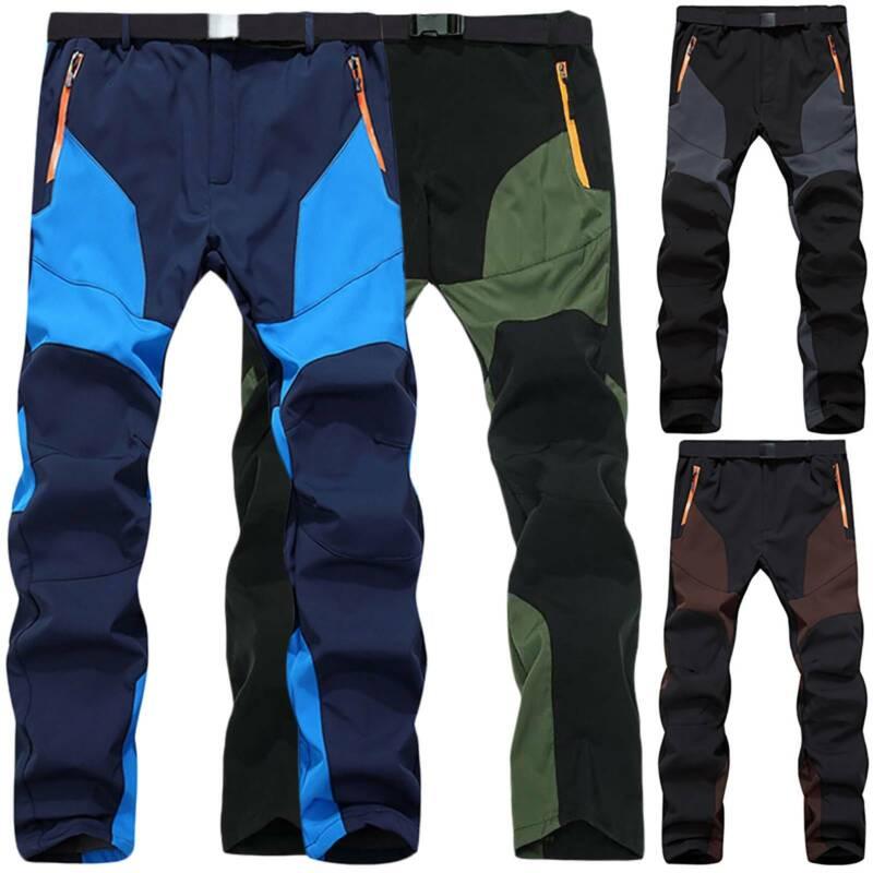 Men Casual Soft Shell Hiking Pants Waterproof Trousers Warm