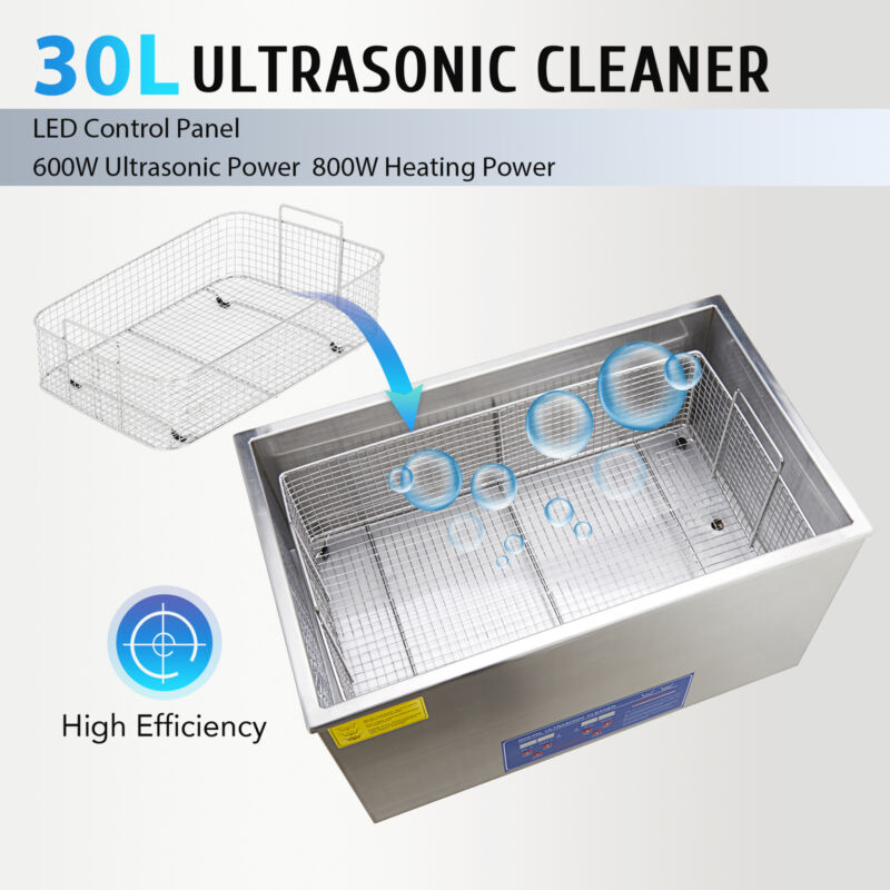 30L Commercial Heated Ultrasonic Cleaner with Digital Timer
