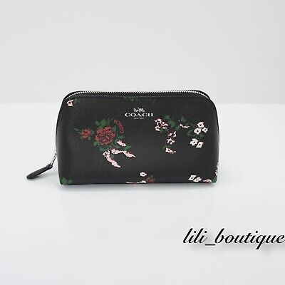 NWT Coach F26226 Cosmetic Case 17 Travel Makeup Canvas Cross Stitch Floral Black