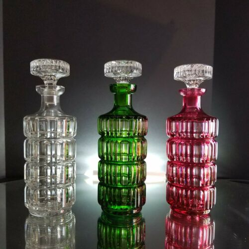 3PC Cut to Clear Cranberry Emerald Green & Clear German Crystal DECANTERS Glass