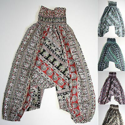 Hose Haremshose Aladinhose Baumwolle Pluderhose Sarouel Indien Hippie Elefanten
