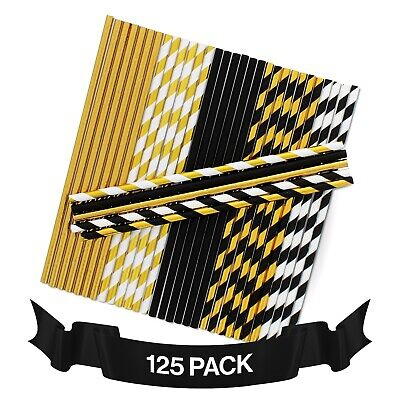 Black And Gold Party Supplies (125 Black and Gold Straws - Great for Gold Party Decorations, Graduation)