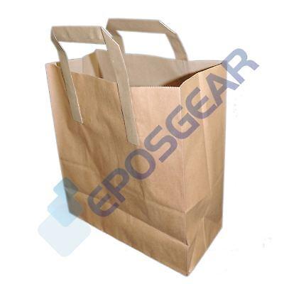 250 Large Brown SOS Kraft Takeaway Food Party Gift Paper Handle Carrier Bags