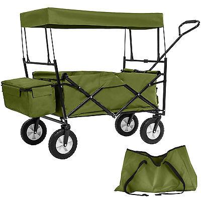 Chariot pliable avec toit amovible charrette de transport à tirer main vert