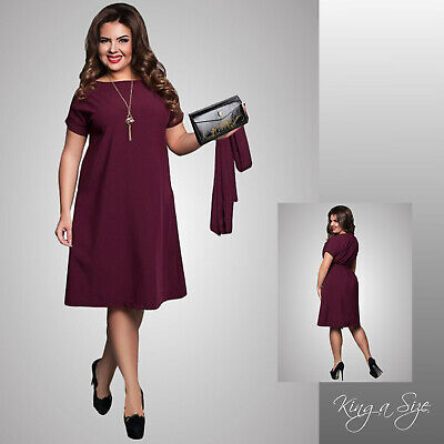 Sommer Kleid Casual Dress Loose Outfits Lagenlook plus size Gr.46 dunkelrot ()