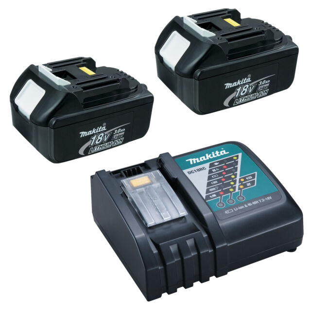 MAKITA 18V LXT LITHIUM ION BL1840 GENUINE 2 PACK BATTERIES, 4.0AH DC18RC CHARGER