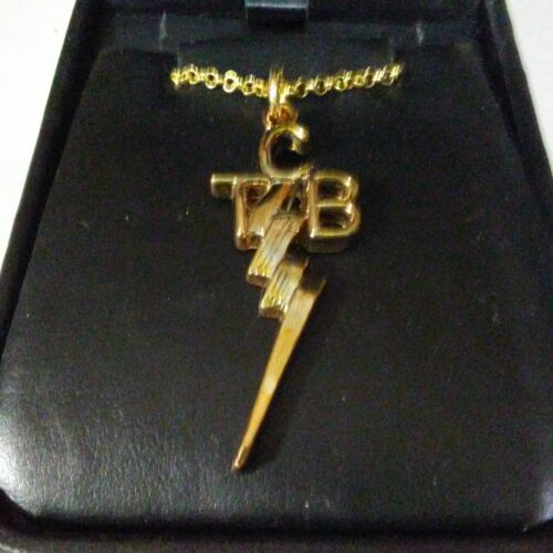 "Elvis Presley Gold  ""TCB"" Taking Care of Business Pendant and Chain   New"