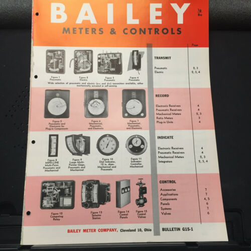 Vtg Bailey Meter Co Brochure ~ Transmit Record Indicate Control 1957 Catalog