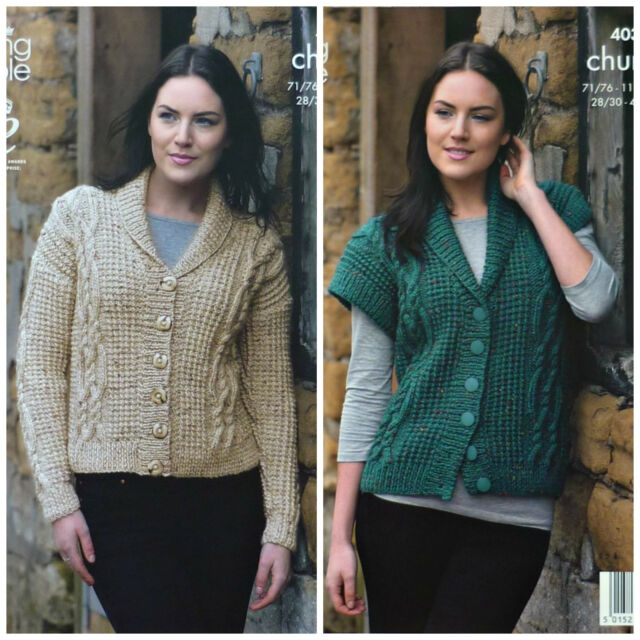 KNITTING PATTERN Ladies Long Sleeve Cable Jacket & Cable Waistcoat Chunky 4036