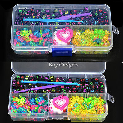 DIY ALPHABET BEADS+CLIPS+CHARMS+HOOK+BOX KIT FOR LOOM RUBBER BANDS