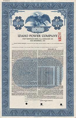 Usa Idaho Power Company Stock Certificate Specimen