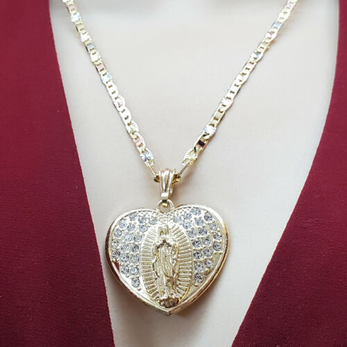 Our Lady of Guadalupe Necklace Heart Pendant Chain Gold Plated Virgen Guadalupe