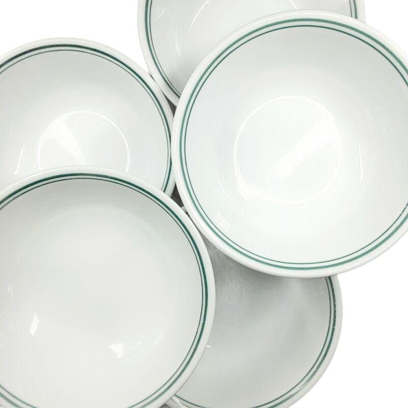 Corelle Rosemarie 5 pc Cereal Bowl Set Green Striped Banded White Vitrelle