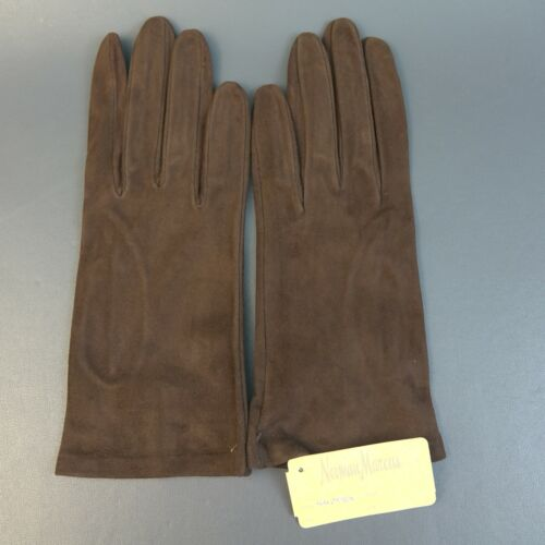 Vintage Neiman Marcus Brown Leather Silk Lined Gloves Sz 7.5 Made in Italy