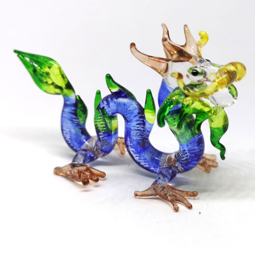 BLOWN GLASS Blue Magical Dragon FIGURINE Fantasy Collectible MINIATURE HANDMADE