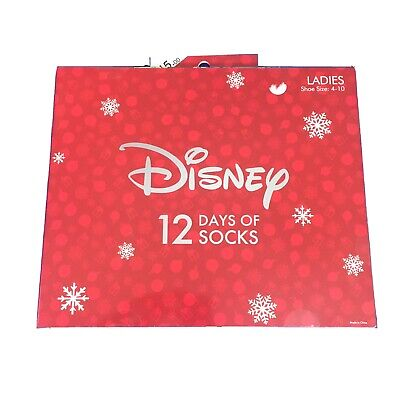 Disney 12 Days Of Socks Advent Calendar Ladies Size 4-10