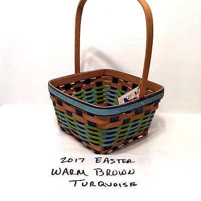 2017 Easter Basket Turquoise and Warm Brown Longaberger New