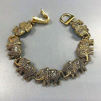 Antique Fashionable Gold Good Luck 7 Elephant Animal Shape Magnetic Bracelet (Good Fortune Elephant)