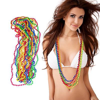 Bunte 12er Pack Perlenkette Neon, Hippiekette, Kostüm Party 80er Jahre, Karneval