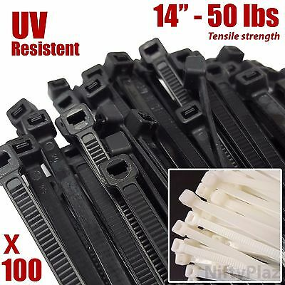 Niftyplaza 14 Inch Cable Ties - Heavy Duty - 50 Lbs 100 Pack Nylon Wrap Zip Ties