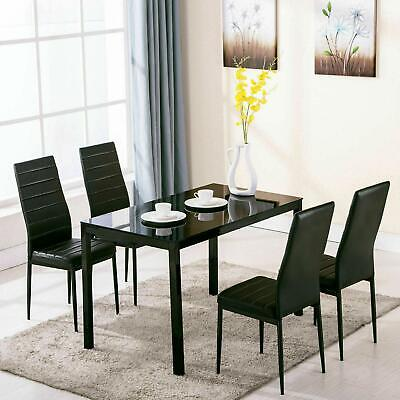 5 Piece Dining Table Set + 4 Chairs Glass Metal Kitchen Room Breakfast Furniture