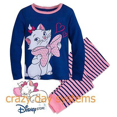 Disney Store Marie Aristocats Sleepwear Pajamas Girls  3 4 5 6 7 8  10 PJ Pals Disney Store Girls Pajamas