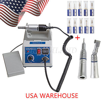 Dental Lab Marathon 35k Rpm Handpiece Electric Micromotor 10pc Drills Burs Te7