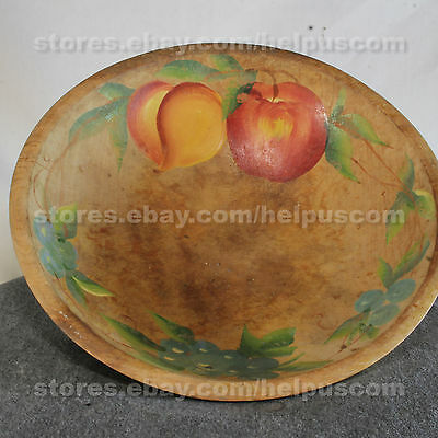 Vintage Wood Wooden Primitive Bowl Hand Painted Fruit Apple, Peach, Grapes 11