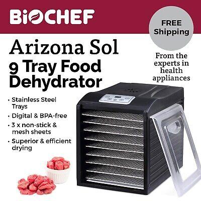 Best Food Dehydrator BioChef Arizona Sol 9 Trays Beef Jerky, Dried Fruit -