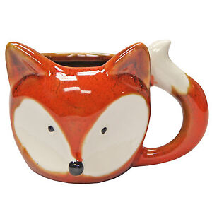 Fun & Quirky Animal Fox Shaped Ceramic Mug – Orange – 350 ml – Novelty Gift