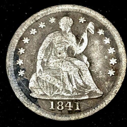 1841 - Seated Liberty Half Dime U.S. 1/2 Dime Silver Circulated Coin, Rare Date.