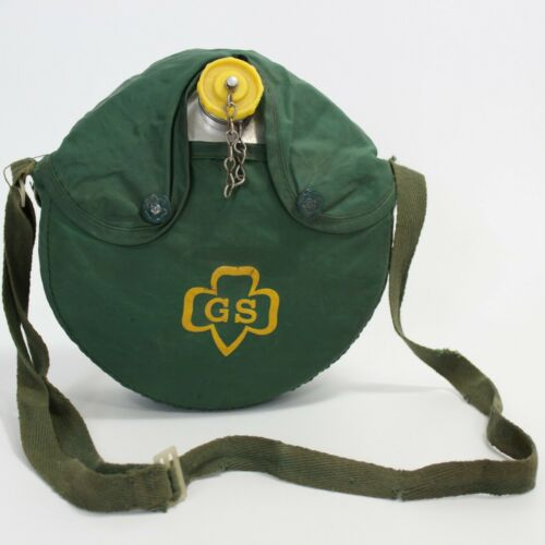 Girl Scouts Metal Canteen, Green Cover with Logo 1960