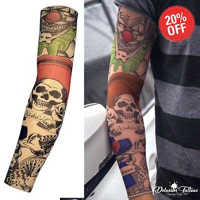 Temporary Tattoo Sleeve Nylon Elastic Stocking Halloween Arm Mens Womens Kids UK - Halloween Tattoo Sleeve