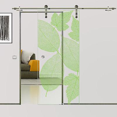 Grünes Glas-türen (Soft Stop Glasschiebetür Glastür Edelstahl Dekor Leaves 775/900/1025x2050mm BF1A)