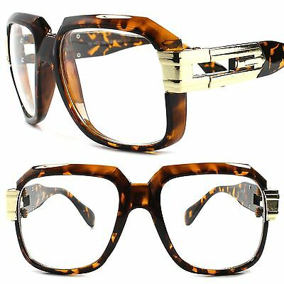 Classic Retro 80s Hip Hop Urban Fashion Oversized Square Tortoise Clear Glasses