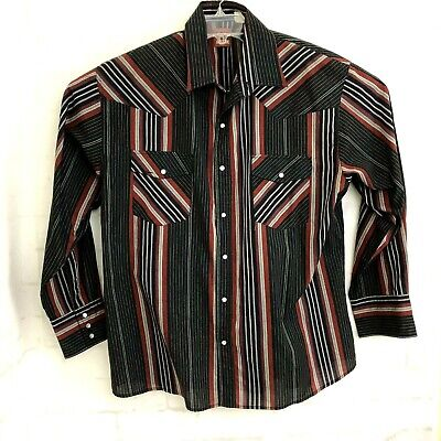 Color Stripes Snap (Mens Western Striped Long Sleeve Shirt Pryde XL Multi-color Stripes Snap Buttons)
