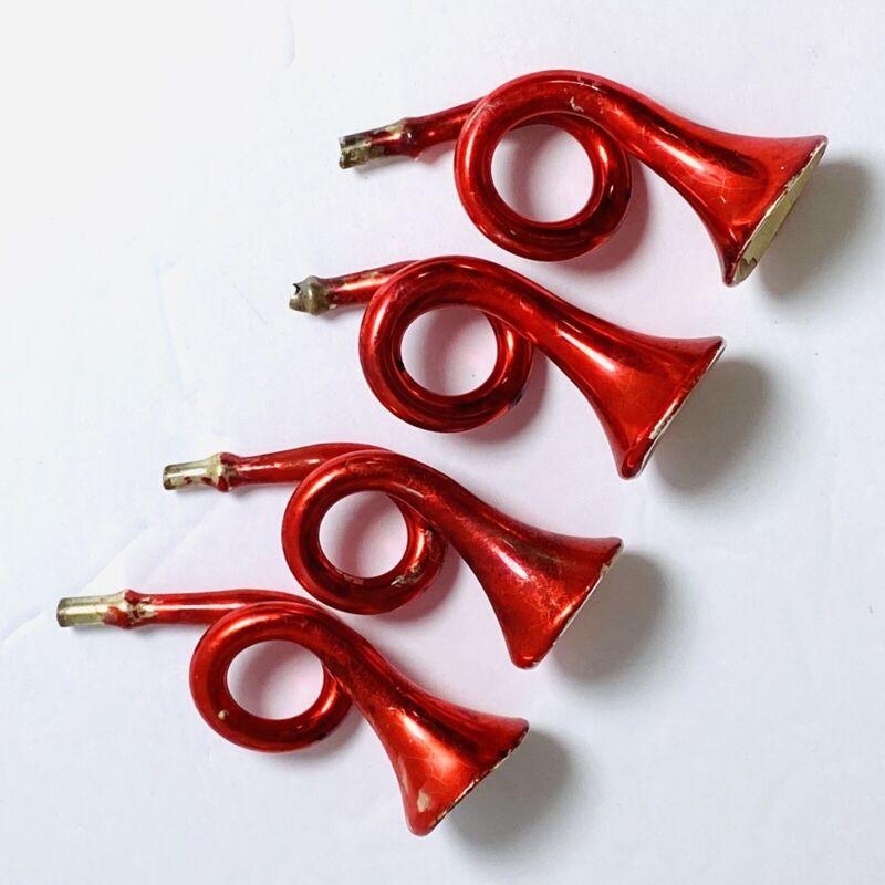 Vintage Mercury Glass Ornaments Red Trumpet Horns Germany Set of 4 Original Box