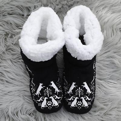 Faceplant Dreams Dog Black White Paw Print Fluffy Warm Booties Winter Medium